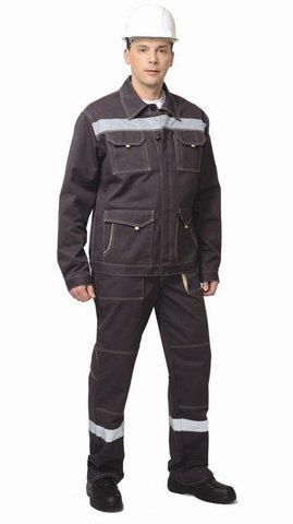 Костюм куртка, брюки темно-коричневый с СОП 100% хлопок