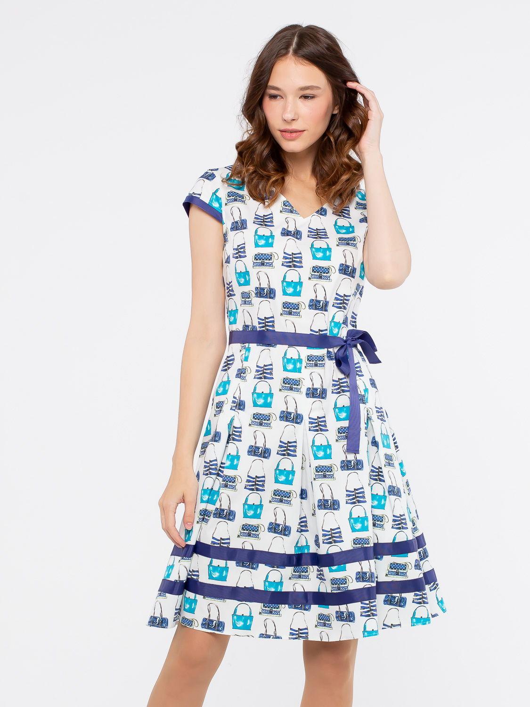 Платье З175-363 - Женственное платье из хлопка с отделкой и поясом из репсовой ленты в тон основного рисунка.  Оригинальный принт привлечет к себе взгляды, не оставив вас не замеченной. Классические линии кроя идеально обрисовывают женственный силуэт. Отличный вариант на лето.