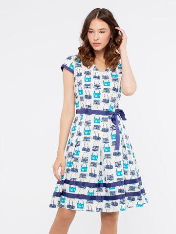 Фото расклешенное платье с v-образным вырезом и оригинальным принтом - Платье З175-363 (1)
