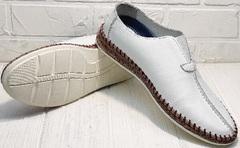 Кожаные слипоны мужские туфли на плоской подошве деловой кэжуал летние Luciano Bellini 91724-S-304 All White.