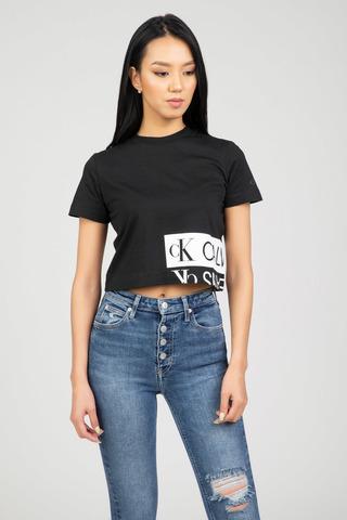 Женская футболка MIRRORED LOGO BOXY TEE Calvin Klein