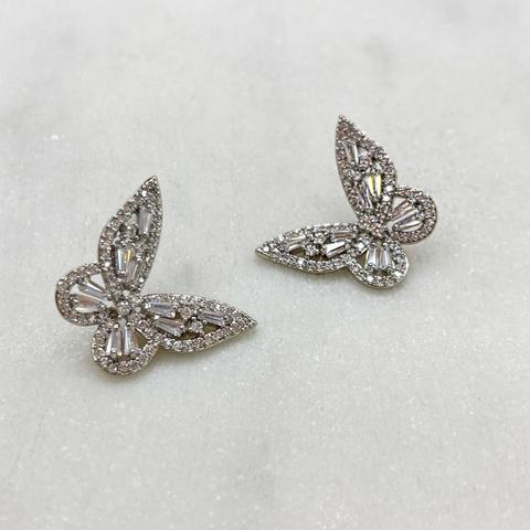 Серьги-гвоздики Бабочки с цирконами (серебристый)