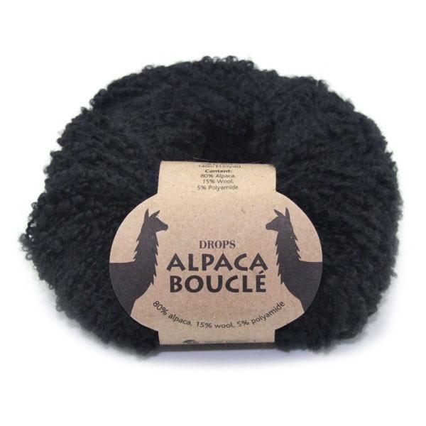 Пряжа Drops Alpaca Boucle 8903 черный