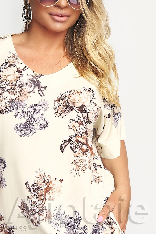 Брючная двойка с блузкой в цветочный принт