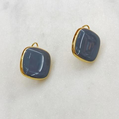 Серьги Квадраты на петлях, эмаль (светло-серый)