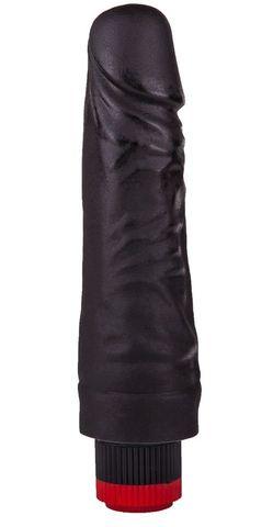 Вибратор-реалистик черного цвета - 17,5 см.