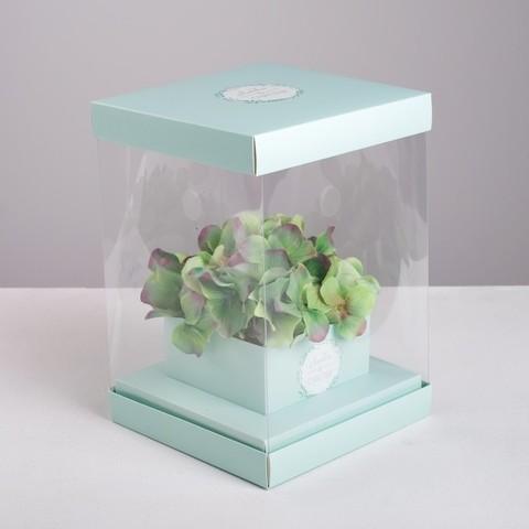 Коробка для цветов с вазой и PVC окнами складная «Любви и Счастья», 16 х 23 х 16 см