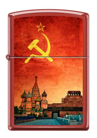 Зажигалка Zippo Красная Москва, латунь/сталь с покрытием Red Matte, красная, матовая, 36x12x56 мм123