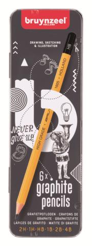 Набор чернографитных карандашей Bruynzeel Burotek 6 штук разной твердости в металлическом пенале