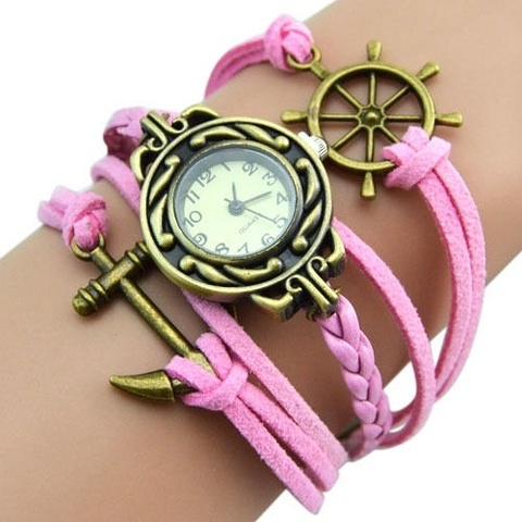 Купить Часы-браслет с якорем и штурвалом (розовые) в Магазине тельняшек