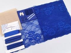Набор 1. Минимальный: для пошива бра без каркасов и трусиков. Синий и бежевый (Арт: EK-2147), шт