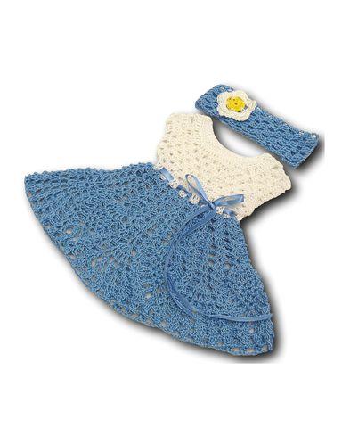 Вязаное платье - Голубой. Одежда для кукол, пупсов и мягких игрушек.