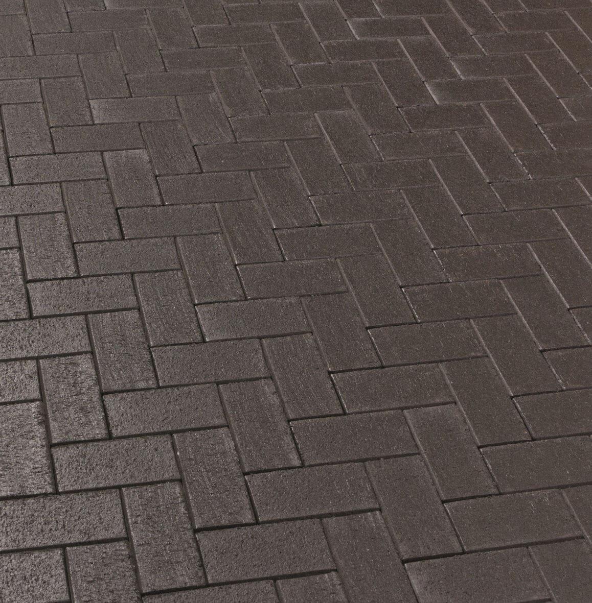 Feldhaus Klinker - P609KDF, Umbra ferrum, антрацитовый с фиолетовым нагаром, с оттенками, 200x100x52 - Клинкерная тротуарная брусчатка
