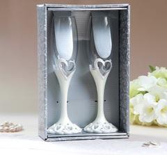 Набор свадебных бокалов «Кольца», на ножках, полистоун, 25 см, 250 мл, фото 2