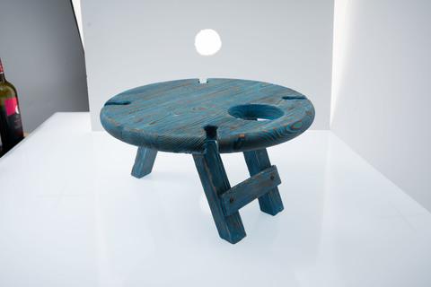 Складной столик для вина из дерева, темно-синий