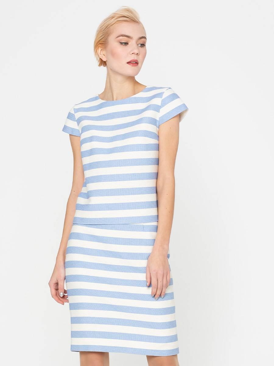 Блуза Г593-577 - Блуза прямого силуэта из фактурной ткани.  Горизонтальная, модная в этом сезоне, полоска смотрится стильно и необычно.