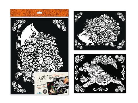 Арт-терапия Картина-раскраска Фэнтези 40*30 см. 2 шт. бархат, глиттер/03157