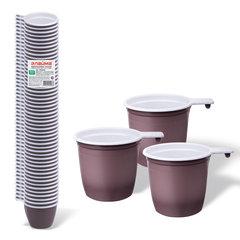 Чашка одноразовая бело-коричневая 200мл 50шт