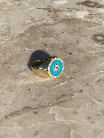 Кольцо Сайн голубое, позолоченное серебро