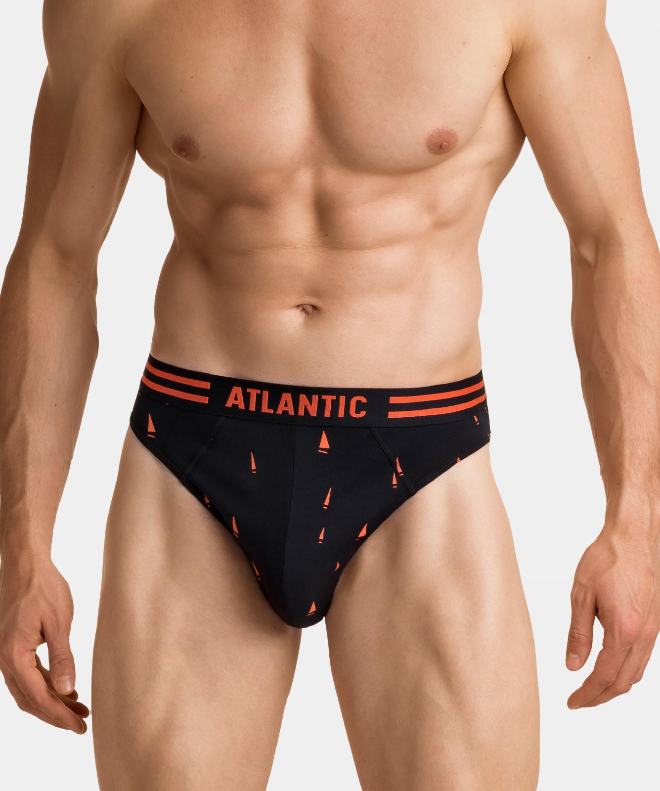 Мужские трусы слипы спорт Atlantic, набор 3 шт., хлопок, черные, 3MP-098