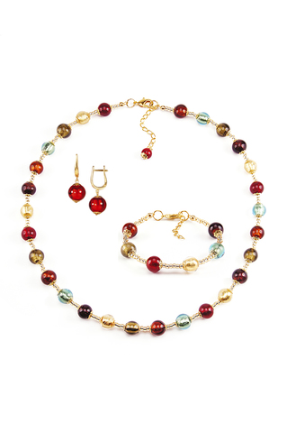 Комплект Carnavale Oro (красные серьги на серебре, ожерелье, браслет)