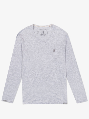 Long-sleeved V-neck melange t-shirt