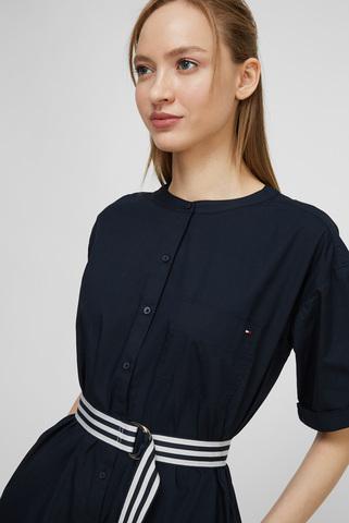 Женское темно-синее платье POPLIN KNEE SHIRT DRESS SS Tommy Hilfiger