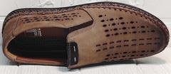Летние туфли мокасины мужские из натуральной кожи смарт кэжуал Luciano Bellini 91737-S-307 Coffee.