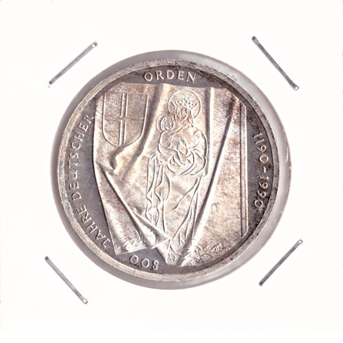 10 марок 1990 год (J) 800 лет Тевтонскому ордену, Германия. AU