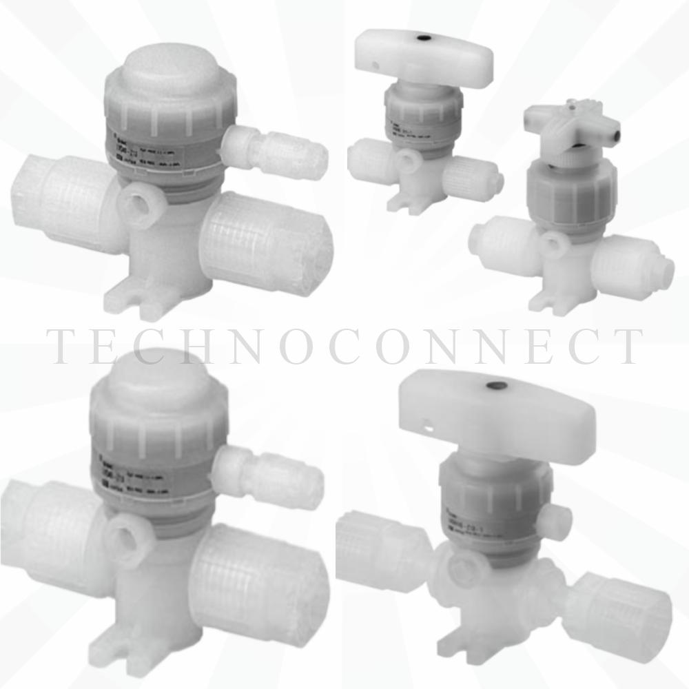 LVQ20-T06R-2   2/2 Н.З. хим. стойкий пн.клапан с патрубком, диам. 6, с регулируемым байпасом