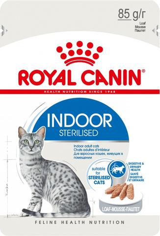 Royal CANIN INDOOR STERILISED для взрослых кастрированных котов и стерилизованных кошек живущих дома паштет 85гр