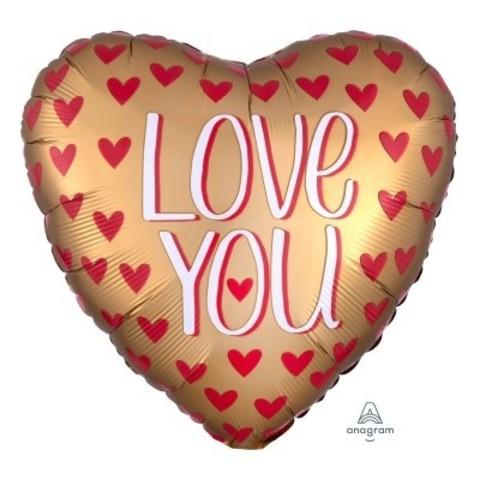 Фольгированное сердце Сатин LOVE YOU