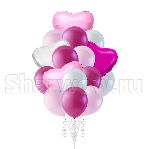 Букет воздушных шаров с гелием Розовые сердца
