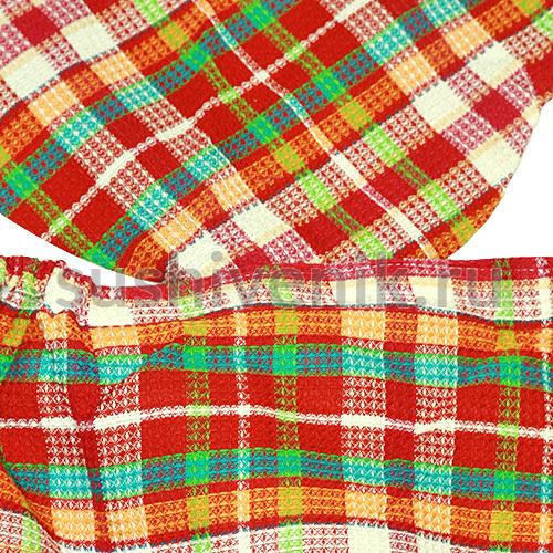 Набор женский вафельный Шотландка (красный)