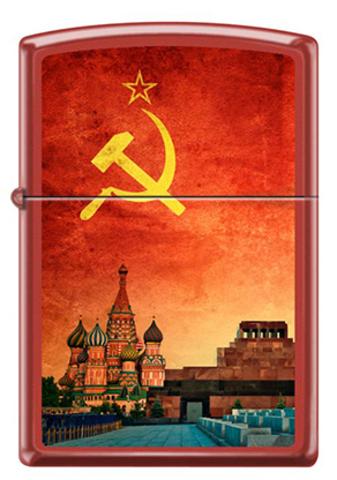 Зажигалка Zippo Красная Москва, латунь/сталь с покрытием Red Matte, красная, матовая, 36x12x56 мм