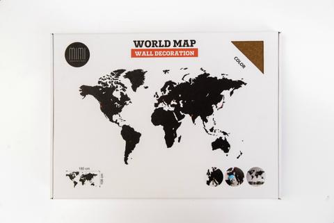 Карта мира Wall Decoration Brown 180 x 108 cm