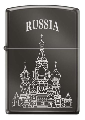 Зажигалка Zippo Собор Василия Блаженного, латунь/сталь с покрытием Black Ice®, чёрная, 36x12x56 мм123