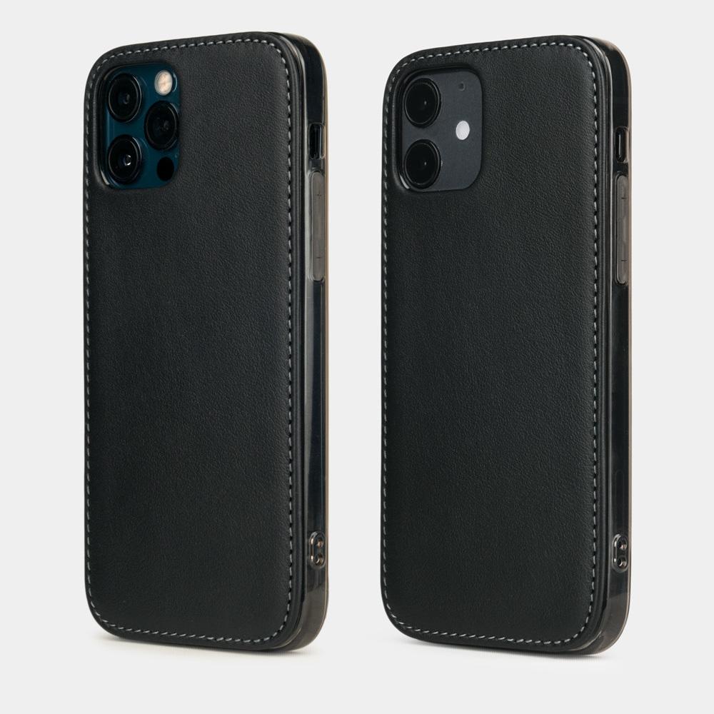 Чехол-накладка для iPhone 12/12Pro из натуральной кожи теленка, черного цвета