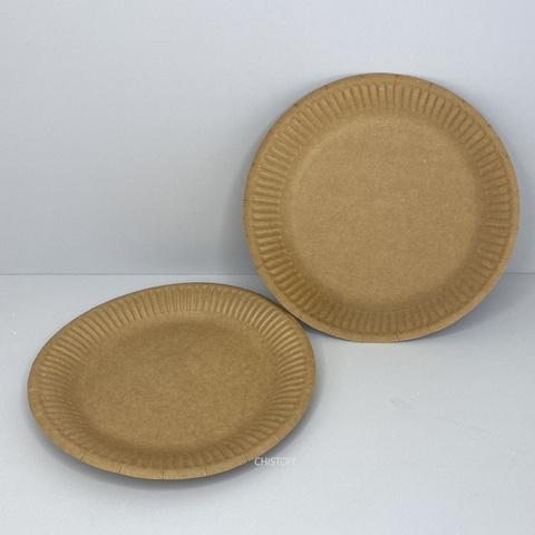 Тарелка бумажная круглая d18 см (100 шт.) крафт