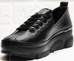Черные женские кроссовки туфли танкетка Mario Muzi 1350-20 Black.