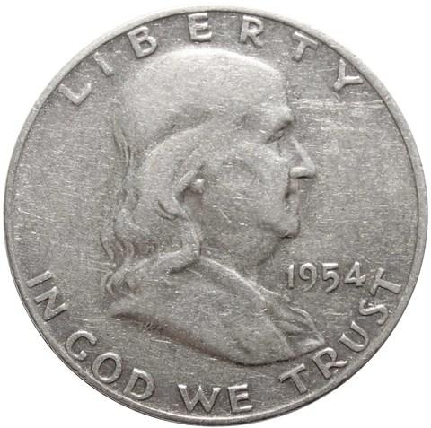1/2 доллара 1954 год. США (D) VF (Франклин)