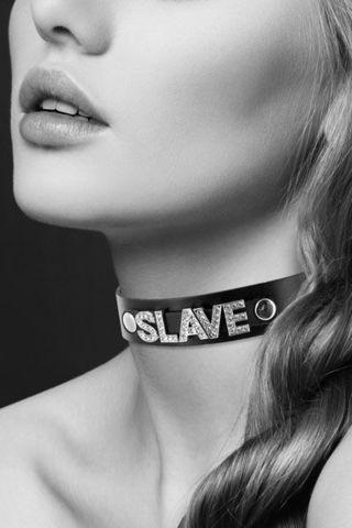 Чокер с надписью COLLIER STRASS SLAVE CUIR BOVIN