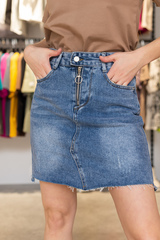 Джинсовая юбка с короткой молнией Nadya