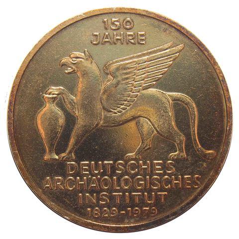 5 марок. 150 лет Немецкому археологическому институту. Германия. (J). Серебро с позолотой. 1979 год. UNC