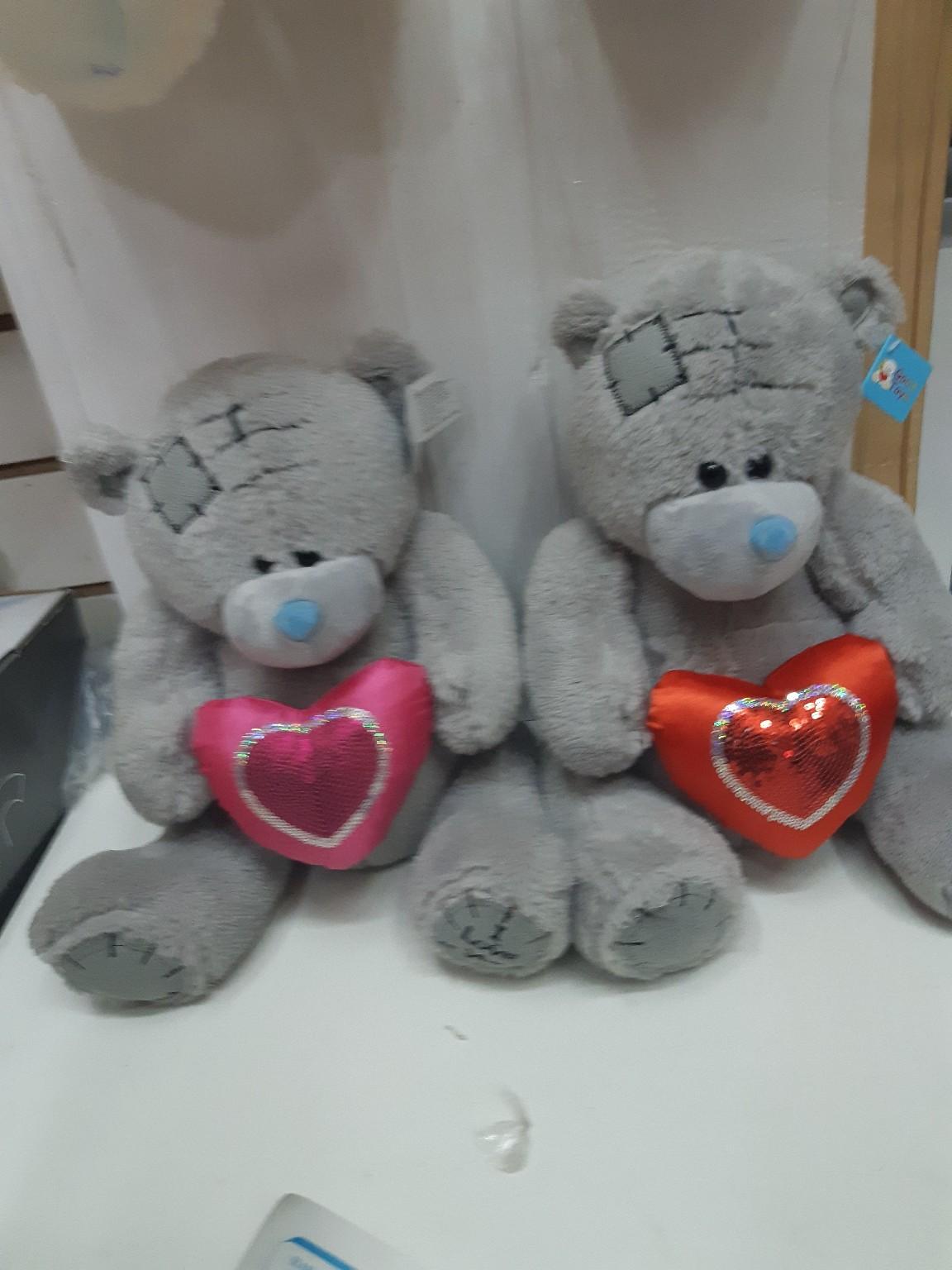 Мягкий Мишка Тедди с разноцветными сердечками поштучно