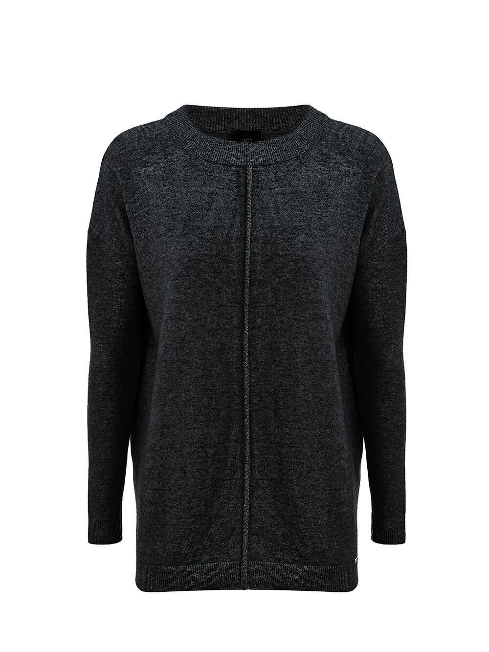 Женский джемпер черного цвета свободного кроя из шерсти и кашемира - фото 1