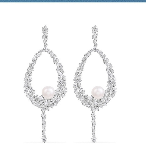 89521- Серьги длинные из серебра с жемчугом и цирконами в стиле Apm Monaco