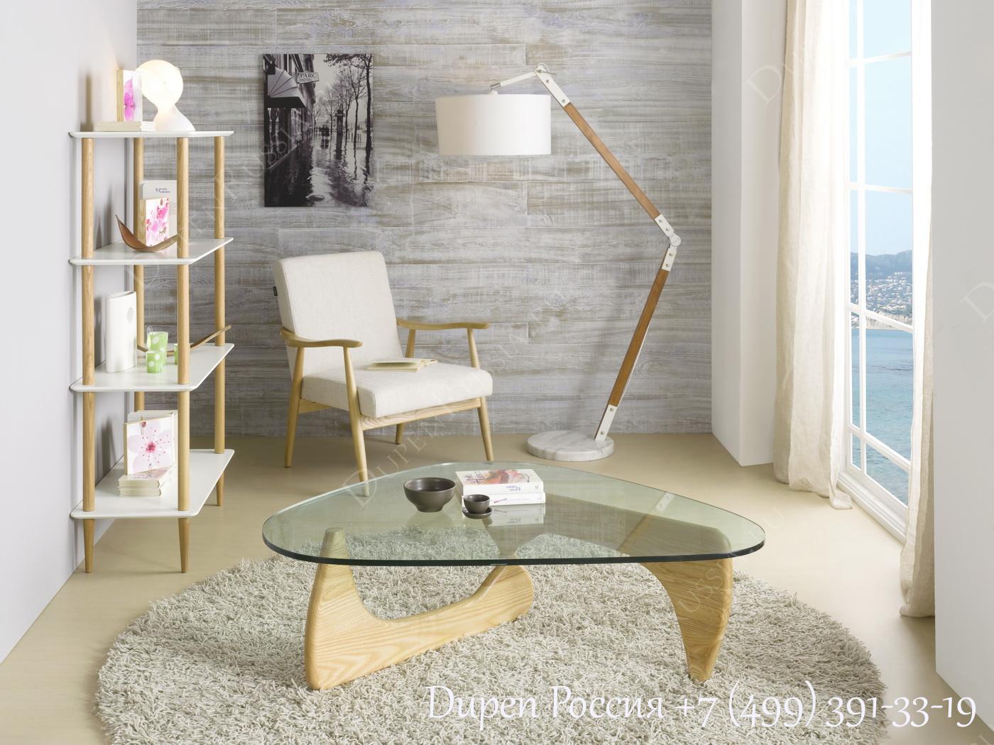 Журнальный стол DUPEN TT-664 Ясень, Стеллаж DUPEN SH-900 Белый полуматовый, Кресло DUPEN CN-D