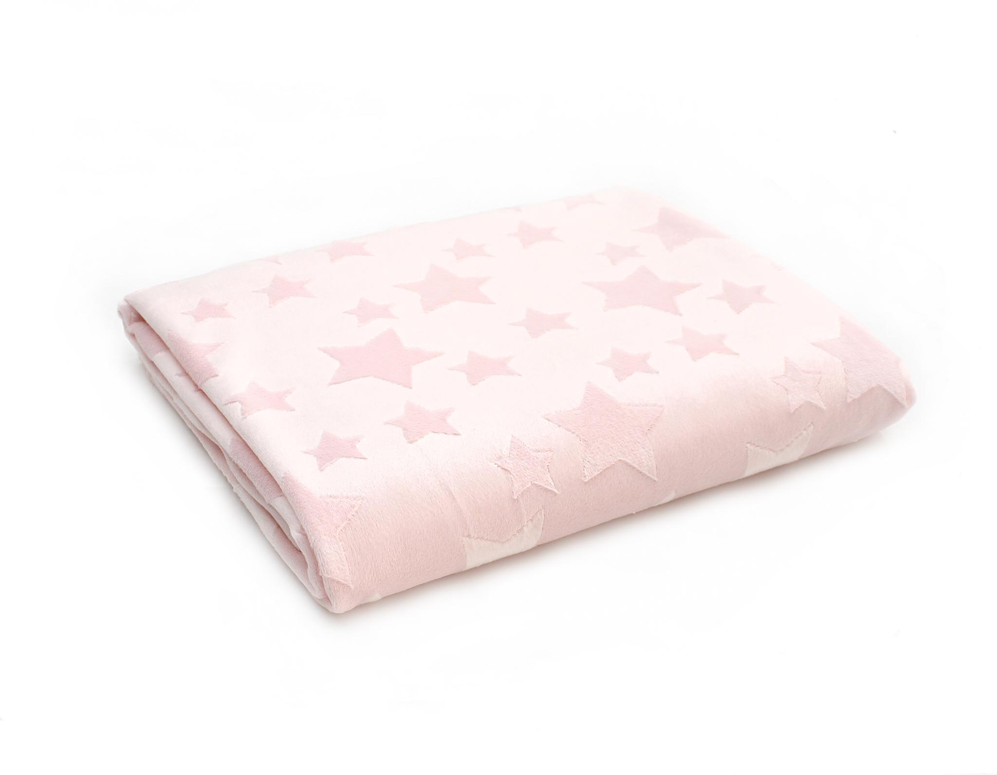 Плюш нежно-розовый,звезды 3D