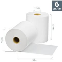 Чековая лента из термобумаги Promega jet 57 мм (диаметр 46 мм, намотка 30 м, втулка 12 мм, 6 штук в упаковке)